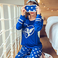 Novas mulheres longo-luva de algodão sono conjuntos de pijama roupa de dormir feminina lovely lady Pijamas nightgowns pijamas pijamas Enviar óculos de proteção