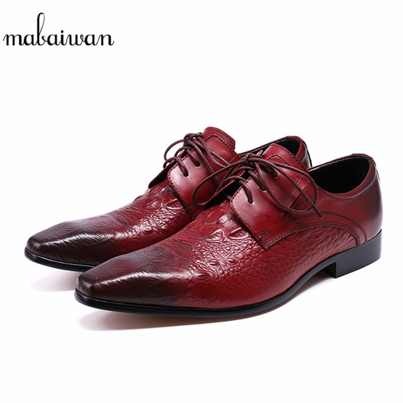 Mabaiwan High Quality Men Shoes Genuine Leather Dress Shoes Male Lace Up Slipper Italy Retro Red Business Wedding Formal Flats mabaiwan black genuine leather men shoes dress wedding male brogue shoes men lace up oxfords prom slipper business formal flats
