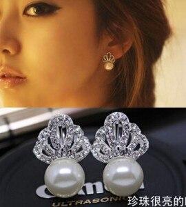 Cute Imitation Pearl Stud Earrings For Women Gift White Copper Crown Rhinestone Stud Earring Fashion Wedding Jewelry Accessories