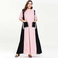 Pink Plaid Black Patch Kaftan Abaya Dubai Islam Loose Muslim Dress Abayas For Women Qatar UAE Oman Caftan Robe Tassel Pocket 4XL