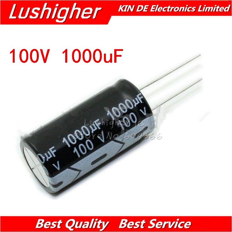 5PCS 100V1000UF 18*35mm  1000UF 100V 18x35 Mm Aluminum Electrolytic Capacitor DIP