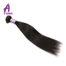 Alimice Hair Indian Straight Hair 8-26 inci Extension Hair Non-Remy 100% Human Weaving Bundles Machine Double Weft 1Bundle