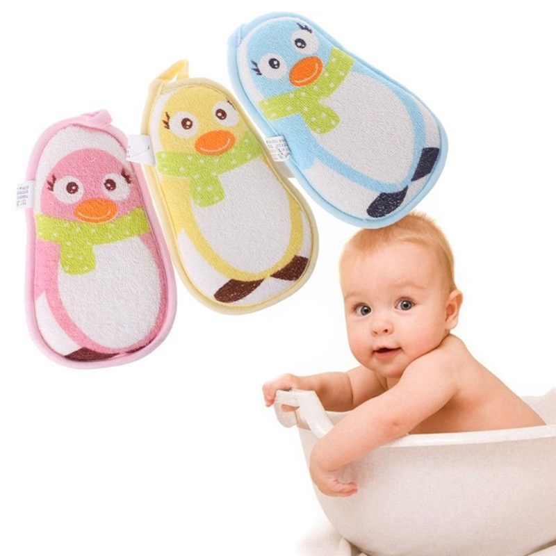 Baby Kids Cute Dolphin Pattern Shower Sponge Brushes Cartoon Soft Cotton Brush Infant Kids Bath Towel