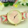 5 Cores Mulheres Relógios Nova Marca Handmade Trançado Amizade Pulseira Mão-Tecido Relógio de Quartzo Das Senhoras do Relógio de GENEBRA Relógios reloj