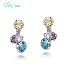 l&zuan 925 Sterling Silver Colorful Crystal 1.764ct Natural Topaz Crystal Elegant Fine Jewelry Christmas gift Earrings For Women