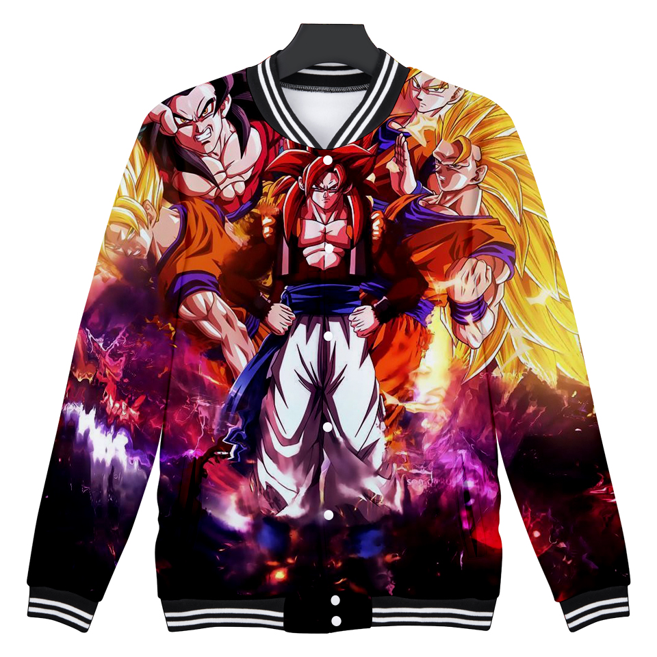 DRAGON BALL baseball jacket Anime 3D print jackets women college jacket Super Saiyan Son Goku clothes baby girl
