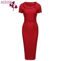 ACEVOG Party Pencil Dress Women's Bow Peter Pan Collar Short Sleeves Bodycon Dress With Belt