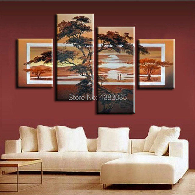 Hand Painted 4 Piece Modern Abstract Sunset Landscape Oil Painting Tree  Canvas Picture African Wall Art