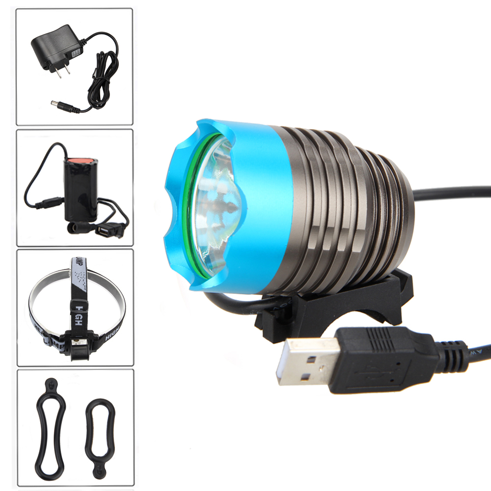 Rechargeable Bicycle Led Light 3800LM XML T6 LED USB Head Front Bike Light Headlight Torch +4x18650 Battery +Headband 18000lm 15x xml t6 led rechargeable flashlight torch handlamp headlight 4x18650 battery charger