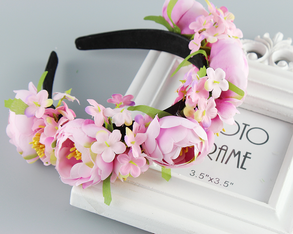Hair Accessories Women's headband Bohemian big Floral flower crown for Party Wedding Hair Wreaths Hair Bands flower headband xinyun wedding flower crown white veil decorated bride headdress weddings hair accessories super soft hand feel hair ornaments