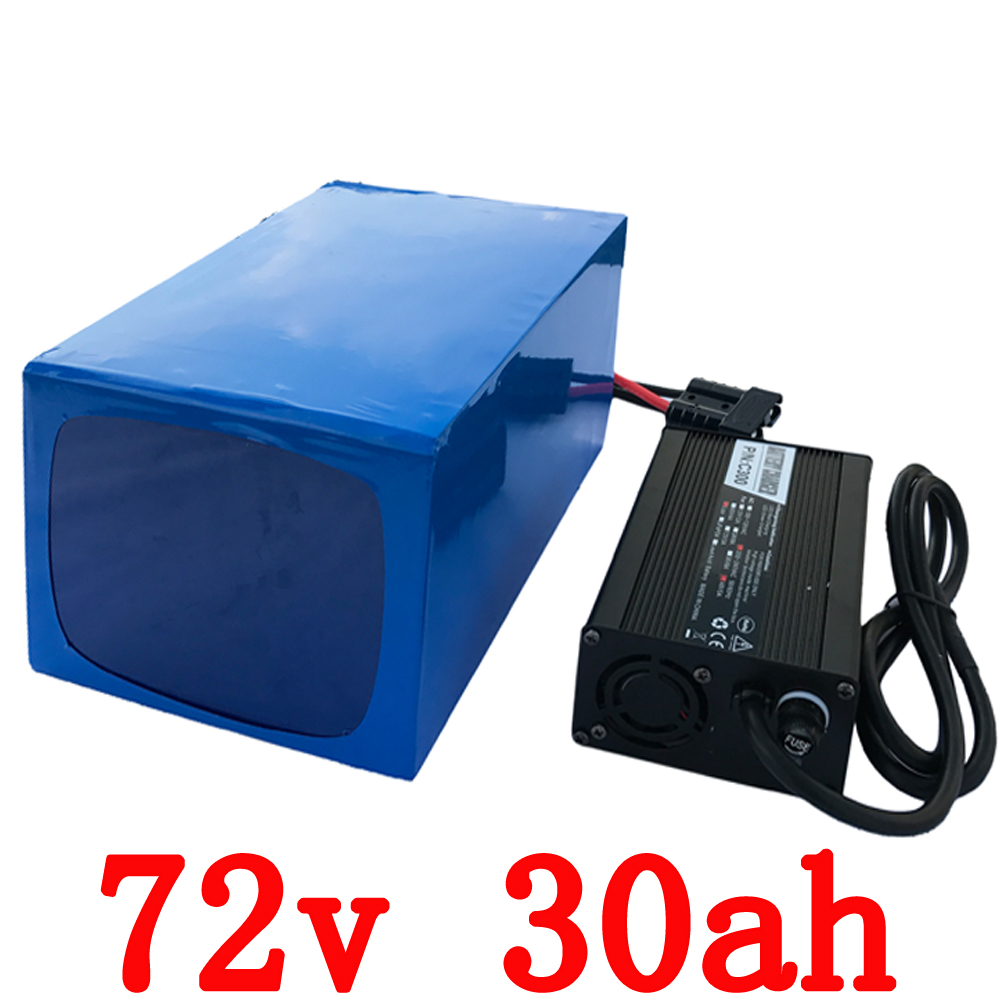Free Customs High Quality Electric Bike Battery 72V 30AH 1500W Super Power Lithium ion Battery with 84v Charger Free Shipping 72v 40ah lithium battery super power electric bike battery 84v lithium ion battery pack charger bms free customs duty