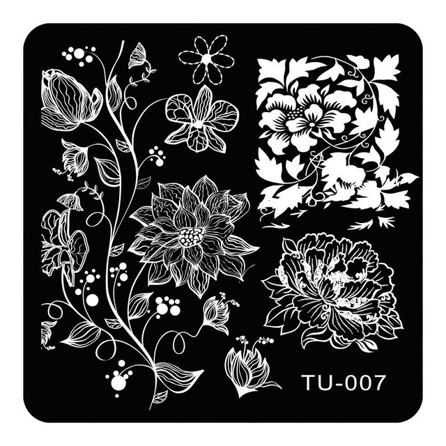 square nail art stamping plates peony vines designs stainless steel