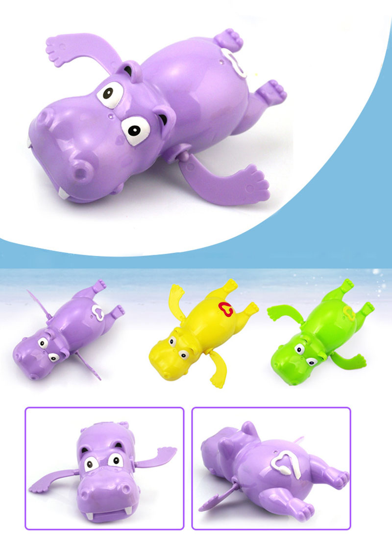 US $1 5 OFF 1pcs Cartoon Animal Clockwork Dabbling Toys Baby Kids Water Fun Game Colorful Cute Hippos Crocodile Seahorse Children Bath Toys in Bath