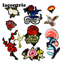 Flowers combination patches for clothing iron on patches mixed embroidery patch applique parches ropa rose stickers for clothes