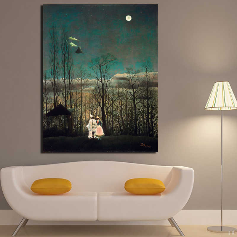 Carnival Night By Henri Rousseau Beauty Scenery Couple In The Moon Canvas Prints For livingroom And Home Decoration