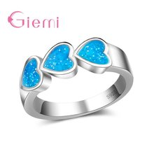 Top Quality Real 925 Sterling Silver Rings For Women Luxury Heart Shape Bridal Jewelry Accessories Opal Anillos Hot Sale(China)