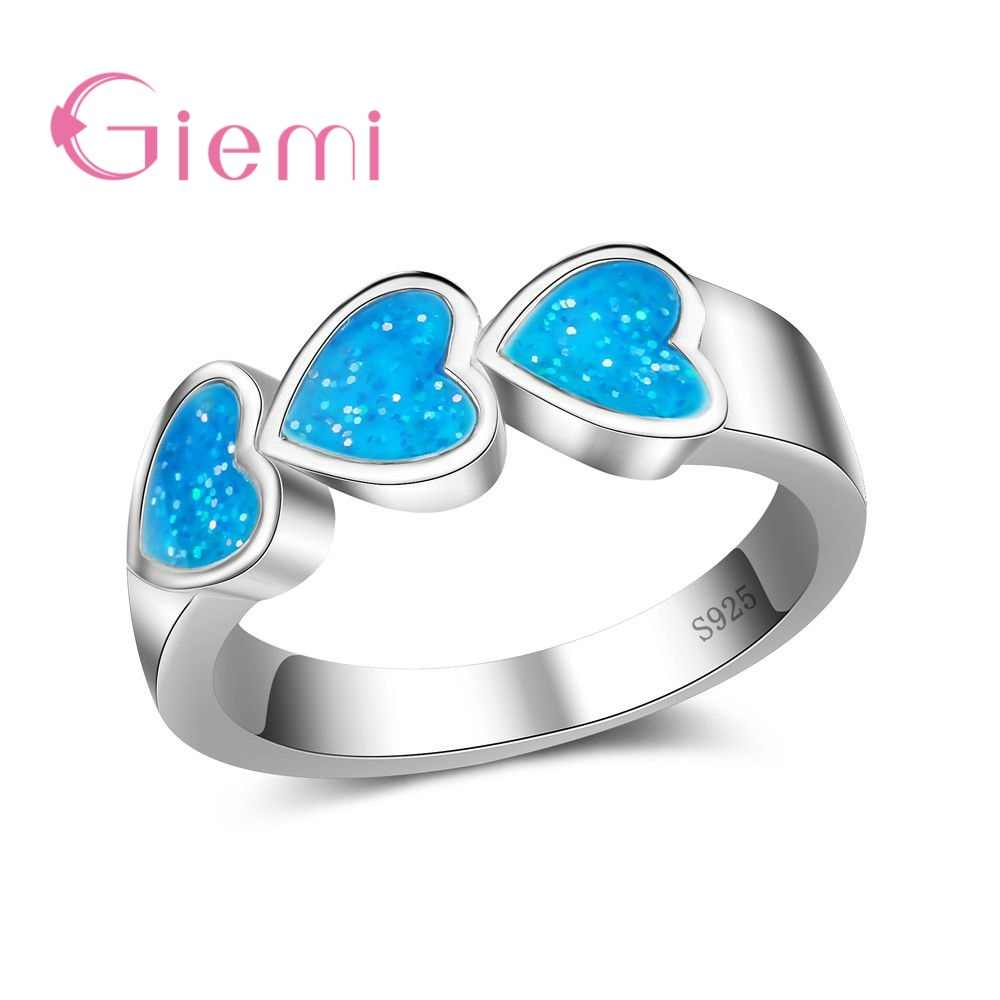 Top Quality Real 925 Sterling Silver Rings For Women Luxury Heart Shape Bridal Jewelry Accessories Opal Anillos Hot Sale
