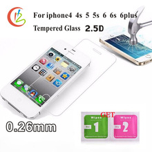 glass on the for iPhone 6 6s 6plus Tempered Screen Protector for iPhone4 5 5s Toughened protective film for iphone 7 7plus glass