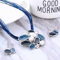 Mode Gem géométrique argent pendentif collier boucle d'oreille ensemble en cuir chocker colliers femmes boho bijoux ensemble cadeau prix de gros