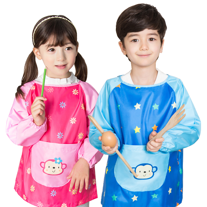 0 12 years old Kids Boys Girls Waterproof Painting Children Apron Art Craft Long Sleeve Aprons Cartoon Baby Feeding Smock Bib in Aprons from Home Garden