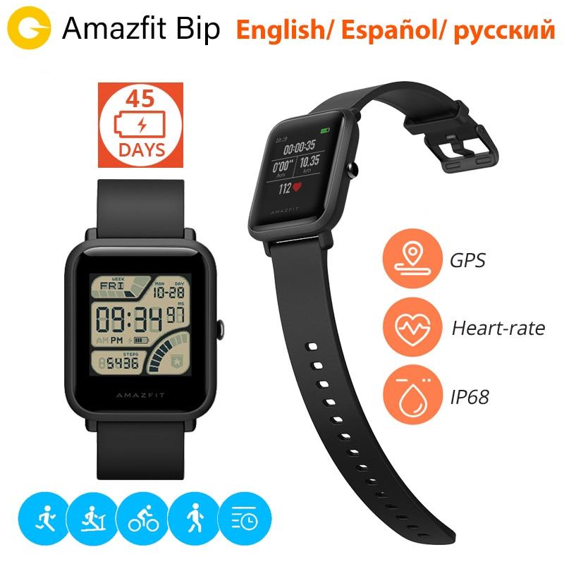 Xiaomi huami Amazfit Bip Смарт часы [русский] Спортивные часы темп Bluetooth 4.0 GPS смарт часы сердечного ритма 45 дней Батарея IP68