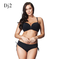 2017 New Folds Plus Size Swimwear Women High Waist Swimsuit Plus Size Bikini Push Up Sexy