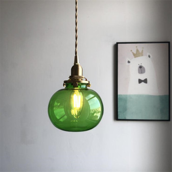 Vintage Loft Copper Glass Colorful Suspension for Dining Room Foyer Bed Side Apartment Nordic Glass Ball Pendant Light 2486