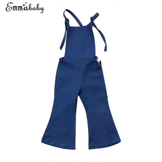 4591a45a1 Overalls Denim Pant Kids Baby Girl Clothes Backless Strap Overall  Sleeveless Jumper Bell Flare Pants Autumn Jeans Trousers