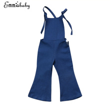 Overalls Denim Pant Kids Baby Girl Clothes Backless Strap Overall Sleeveless Jumper Bell Flare Pants Autumn Jeans Trousers