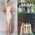 Gold Long Bridesmaid Dresses Sequined Short Sleeve 2016 Red Long Backless Maid Of Honor Gowns For Wedding vestidos madrinha