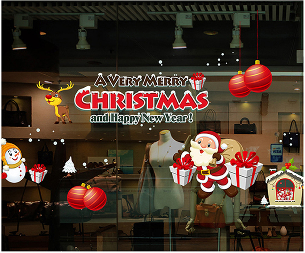popular christmas wall displays buy cheap christmas wall displays santa claus gift christmas decoration wall stickers shop display window stickers for festival decor adesivo de