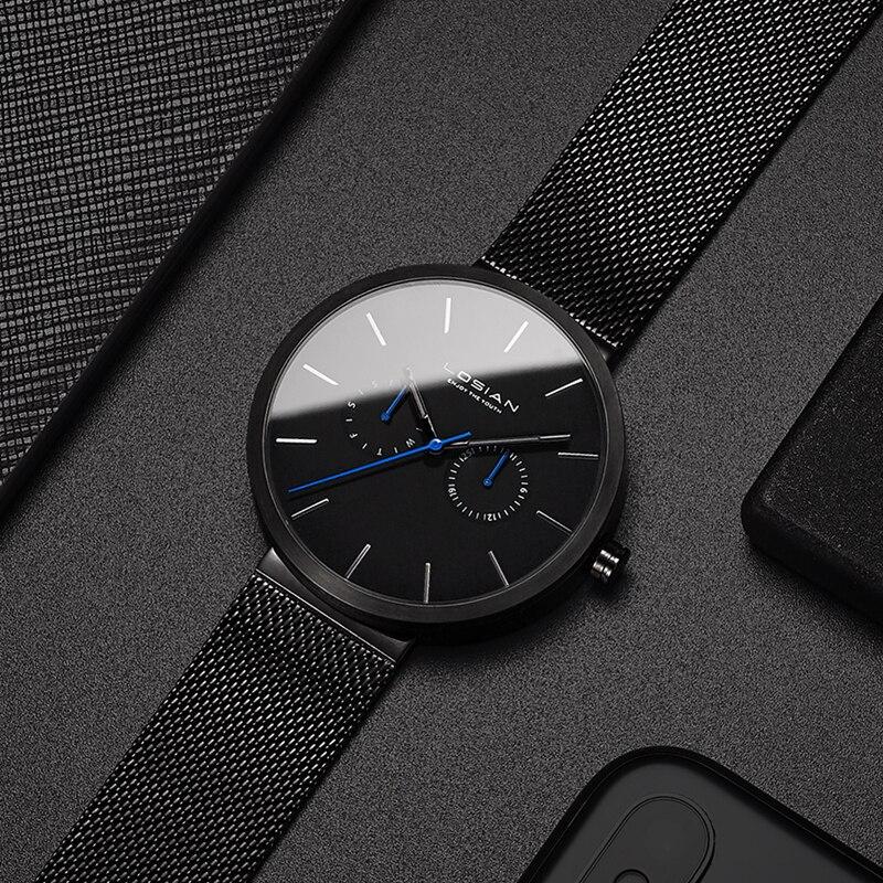 2018 New Fashion Men Watch Waterproof Casual Quartz Watches Date Week Wristwatch Zegarek Meskie luxury brand top black herrenuhr