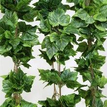 Luyue 12PCS Artificial Plants Flower Silk Grape Leaf Hanging Garlands Simulation Faux Vine Wedding Decoration For Home