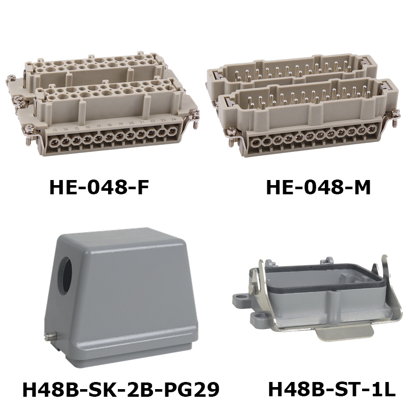 HE-048 Whole set jack and plug Heavy Duty Connector 16A 500V with insert hood and housing 48 pin whole set selling 16 folding mother