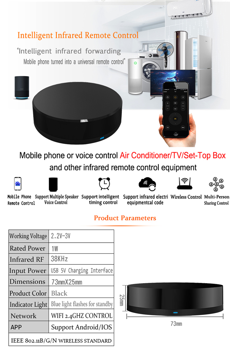 Spetu Wifi Smart Universal Remote Control TV Infrared Transponder Work  Amazon alexa,Goole Assistant,IFTTT Smart Home Automation