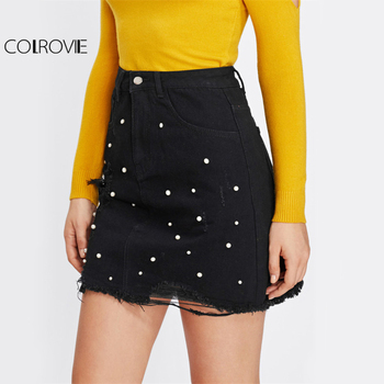 COLROVIE Pearl Detail Ripped Skirt Women Black Cut Hem Cute Denim A Line Skirts Fashion Spring Fall Girls Casual Skirt 2