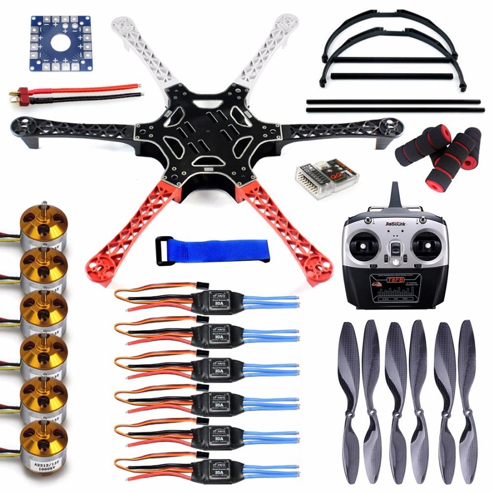 F550 Drone FlameWheel Kit With QQ ESC Motor Carbon Fiber Propellers + RadioLink 8CH TX RX+Skid PTZ FPV цена