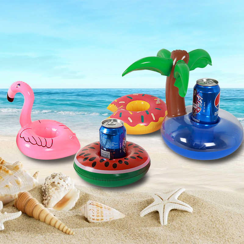 Inflatable Floating Pool Cup Holder Swimming Float Drink Flamingo Donut