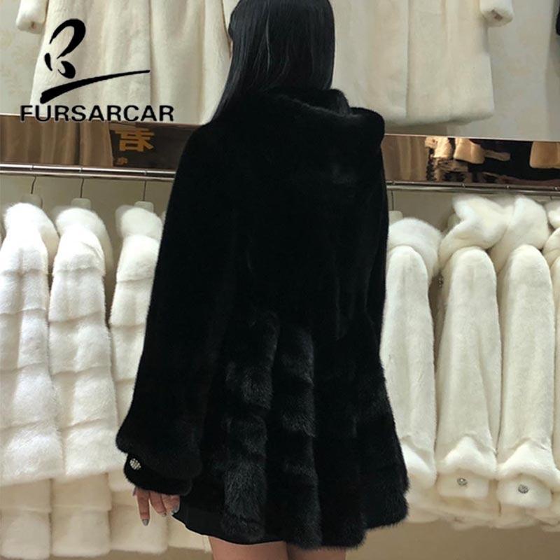 Vison Veste Nouvelle Manteau Blanc Avec De Fursarcar Jupe Femmes Angleterre Naturel Capuchon Fourrure Réel Style Luxe D'hiver Mode noir AqaPxaCwp