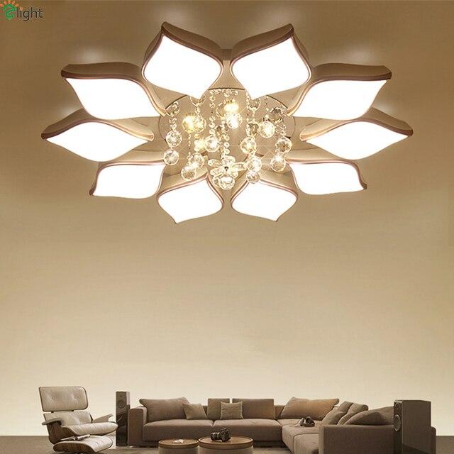 Modern Lustre Crystal Metal Led Chandeliers Lighting Acrylic Lotus Living  Room Led Ceiling Chandelier Lights Bedroom