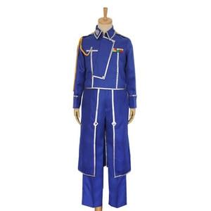 Anime Fullmetal Alchemist Cosplay Roy Mustang Costumes Military Uniform Suit Coat + Pants + Apron(China)