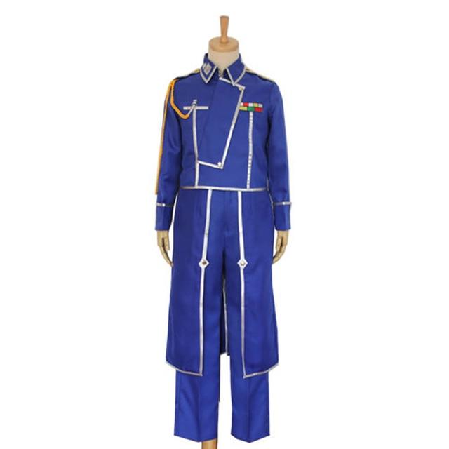 Anime Fullmetal Alchemist Cosplay Roy Mustang Costumes Military Uniform Suit Coat + Pants + Apron