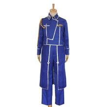 Anime Fullmetal simyacı Cosplay Roy Mustang kostümleri askeri üniforma takım ceket + pantolon + önlük