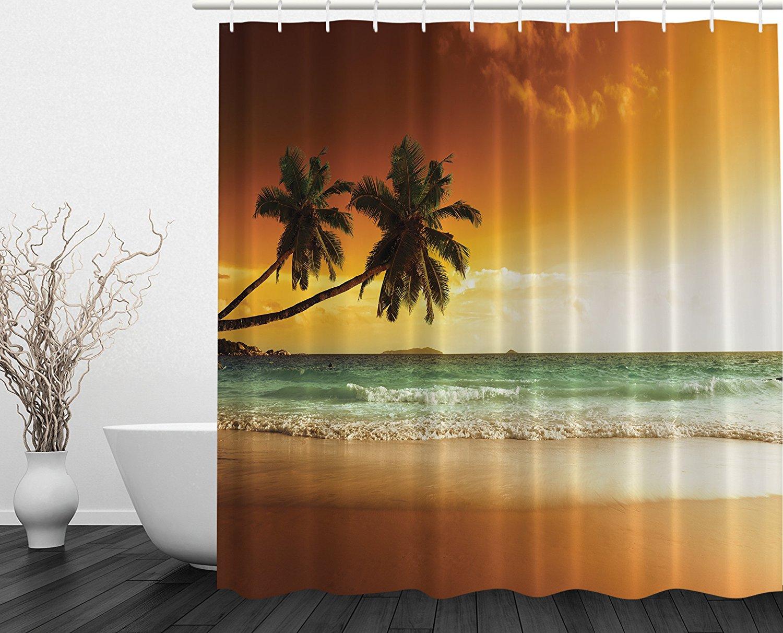 Ocean Shower Curtain Palms Sunset Digital Print Art Pictures Modern ...