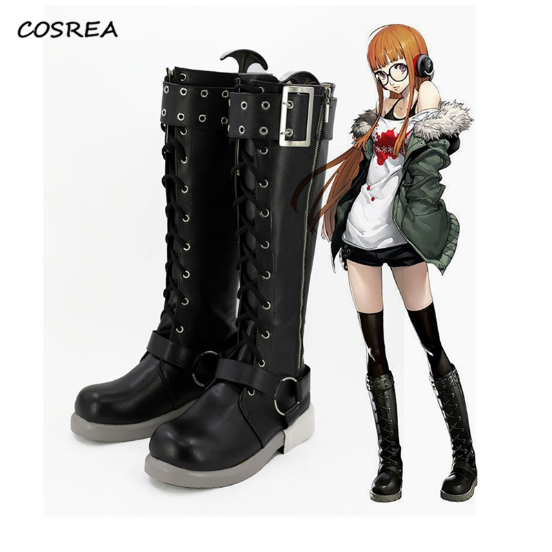 Anime Game Persona 5 Futaba Sakura shoes Cosplay Costume Adult Unisex Halloween Party Prop Black Boots Custom-made Free Shipping