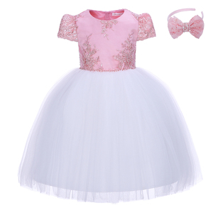 Image 1 - Pettigirl Girls Flower Feast Party Dress Big Bow Beading Pink Princess Dress With Hairhand Kids Boutique Wedding Clothes 1082