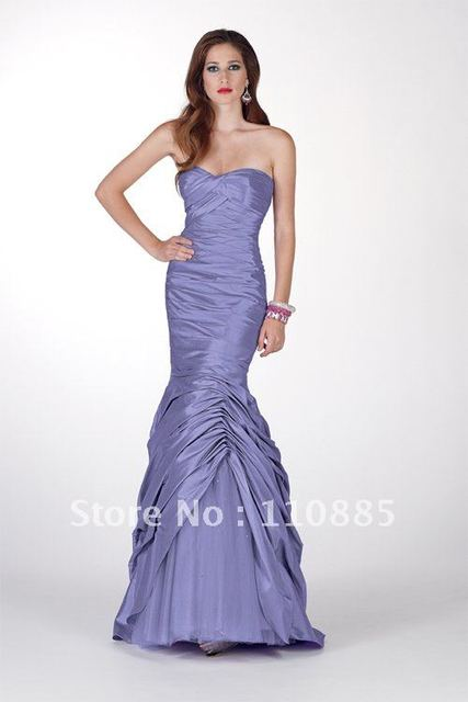 trumpet sweetheart pleats taffeta prom gown