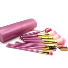9Pcs/Set Makeup Brush Set Cup Soft Synthetic Glitter Handle Oval Brushes Set Face Make Up Brush Kit With Holder Maquiagem R1(China)