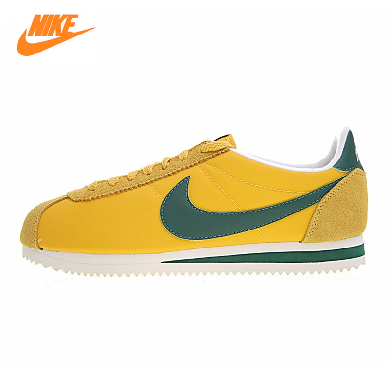 NIKE CLASSIC CORTEZ NYLON Men and Women Running Shoes, Original Sports Outdoor Sneakers Shoes,yellow, Breathable 876873 700 original nike classic cortez nylon men s skateboarding shoes 532487 sneakers free shipping