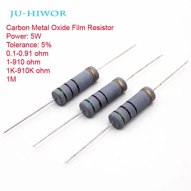 25 шт. 5 Вт 5% Допуск углерода металл-оксид резистор 0,1-0,91 1-910 1 К-910 К 1 м 100 200 300 1 К 2 К 3 К 100 К 1 м резисторы